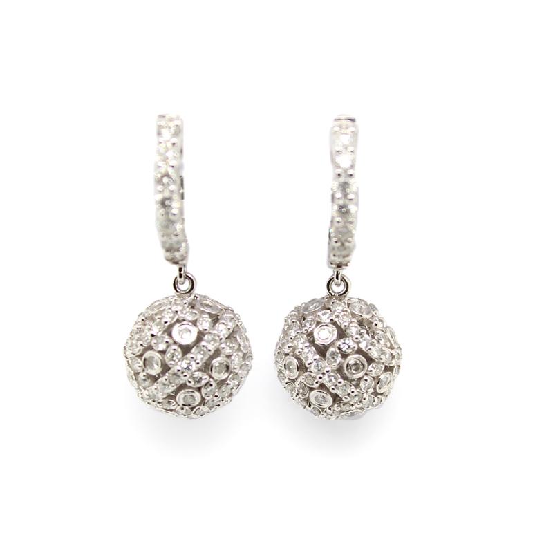 Estate 14 Karat White Gold Diamond Ball Dangle Huggie Earrings
