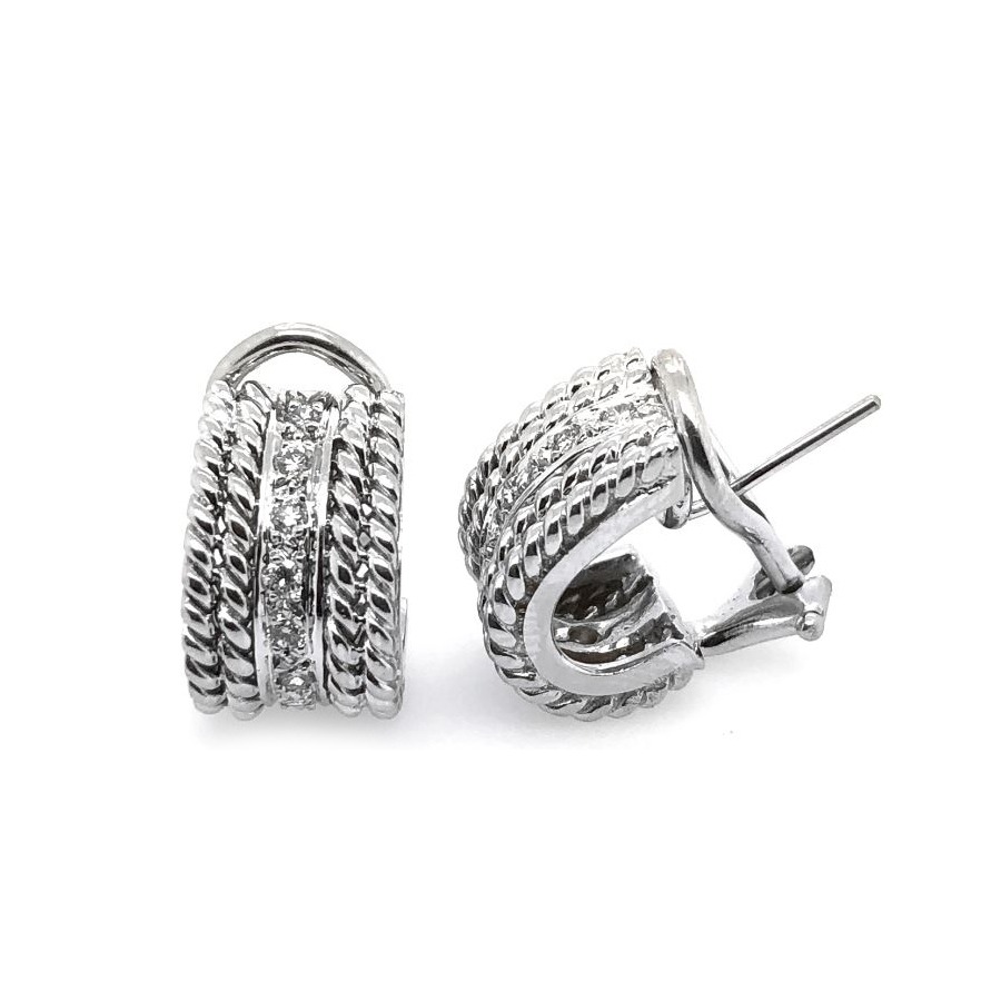 Estate 18 Karat White Gold Cassis Diamond Rope J-Hoop Earrings