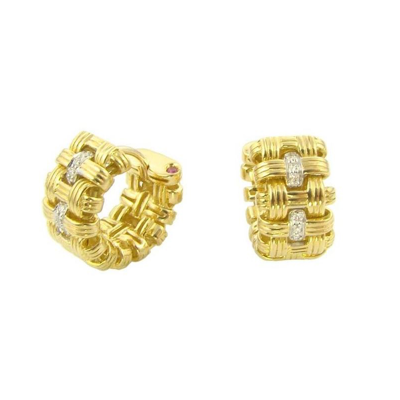 Estate 18 Karat Yellow Gold Roberto Coin Diamond Weave Huggie Earrings
