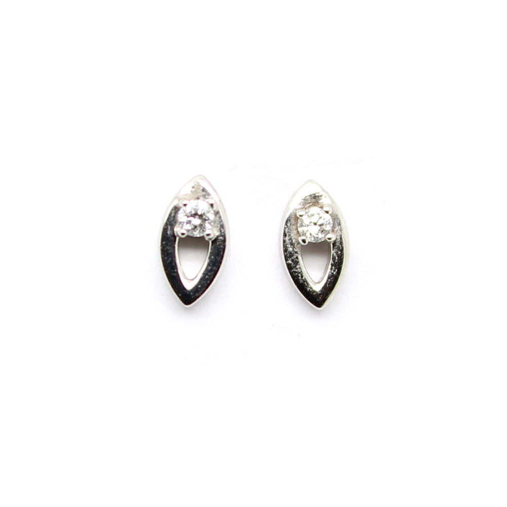 Estate 14 Karat White Gold Diamond Marquise Earrings