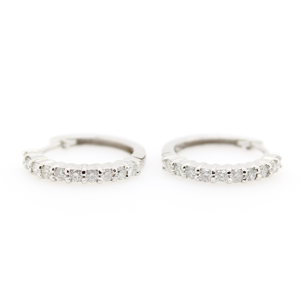 Estate 14 Karat White Gold Diamond Hoop Earrings