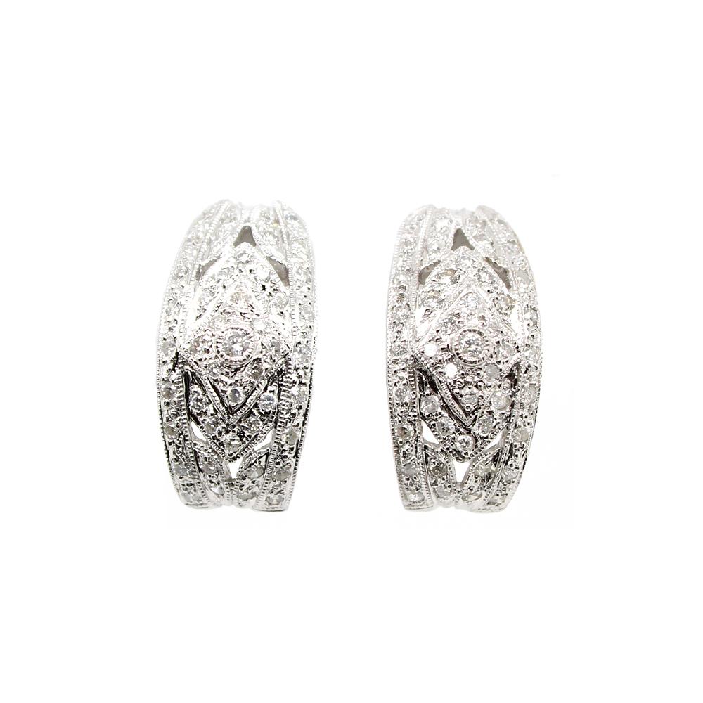 Estate 14 Karat White Gold Filigree Diamond Earrings