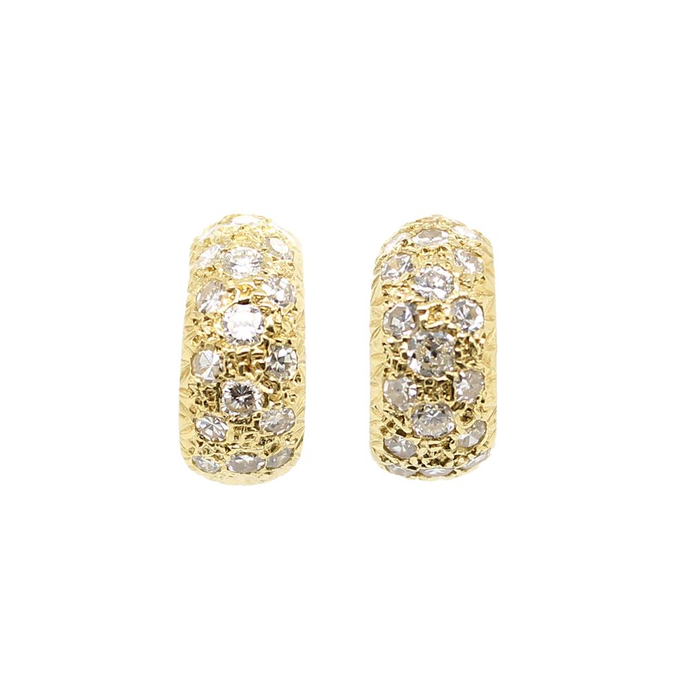 Estate 18 Karat Yellow Gold Diamond Half Hoop Earrings