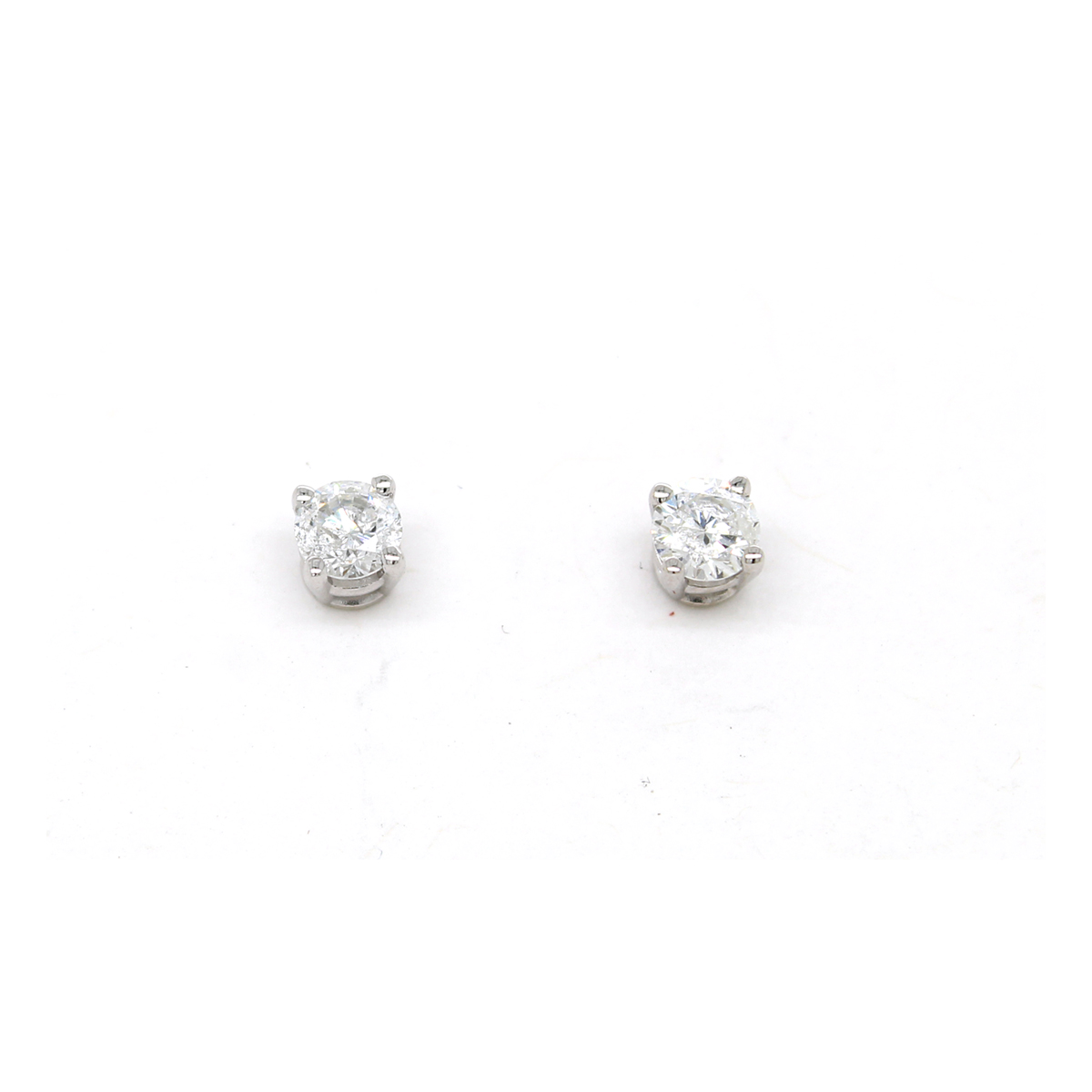 Vintage 14 Karat White Gold Diamond Solitaire Earrings