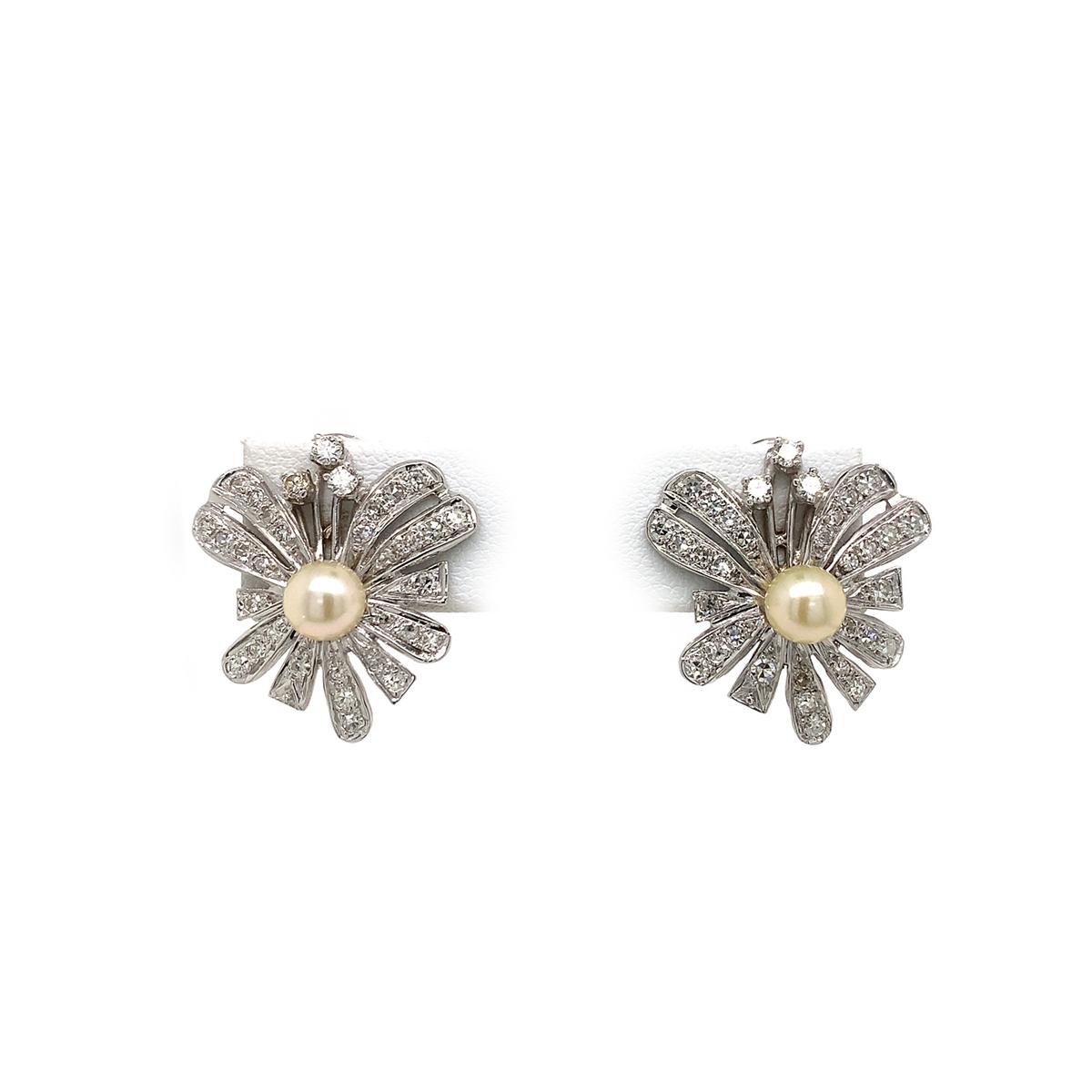 Vintage 14 Karat White Gold Pearl and Diamond Spray Earrings