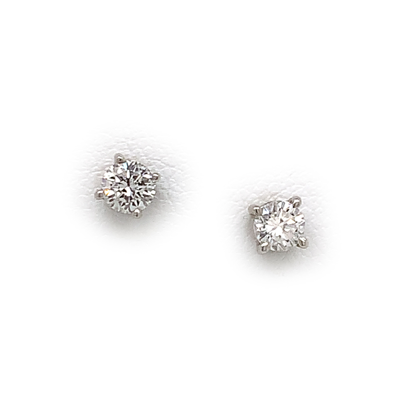 Vintage 14 Karat White Gold Round Brilliant Diamond Solitaire Earrings