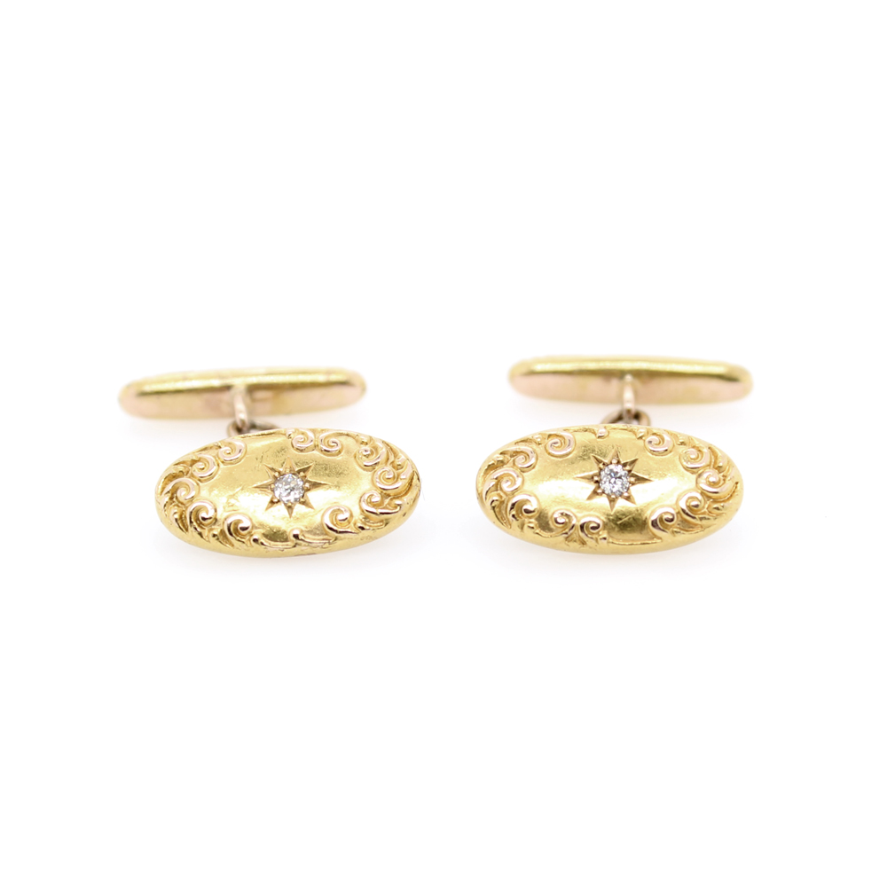 Vintage 14 Karat Yellow Gold Oval Diamond Cufflinks