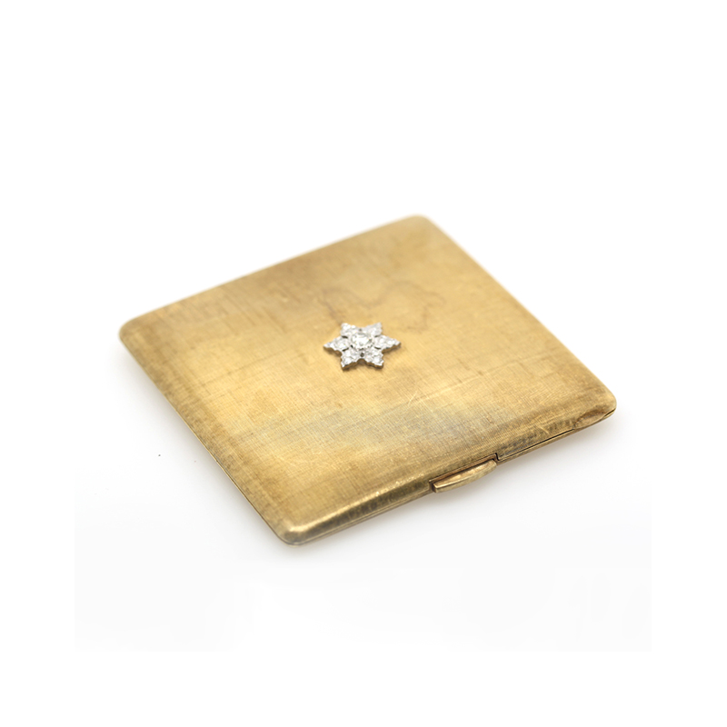 Estate 18 Karat yellow gold diamond mirror compact
