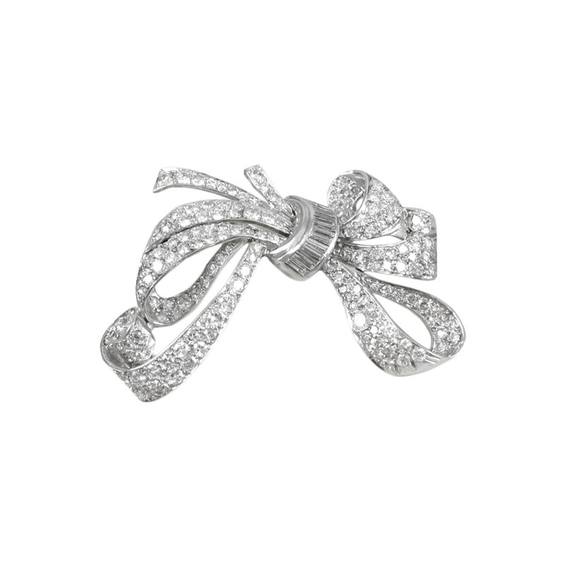 Fancy Bow Style Ladys 18 Karat White Gold Diamond Pin.