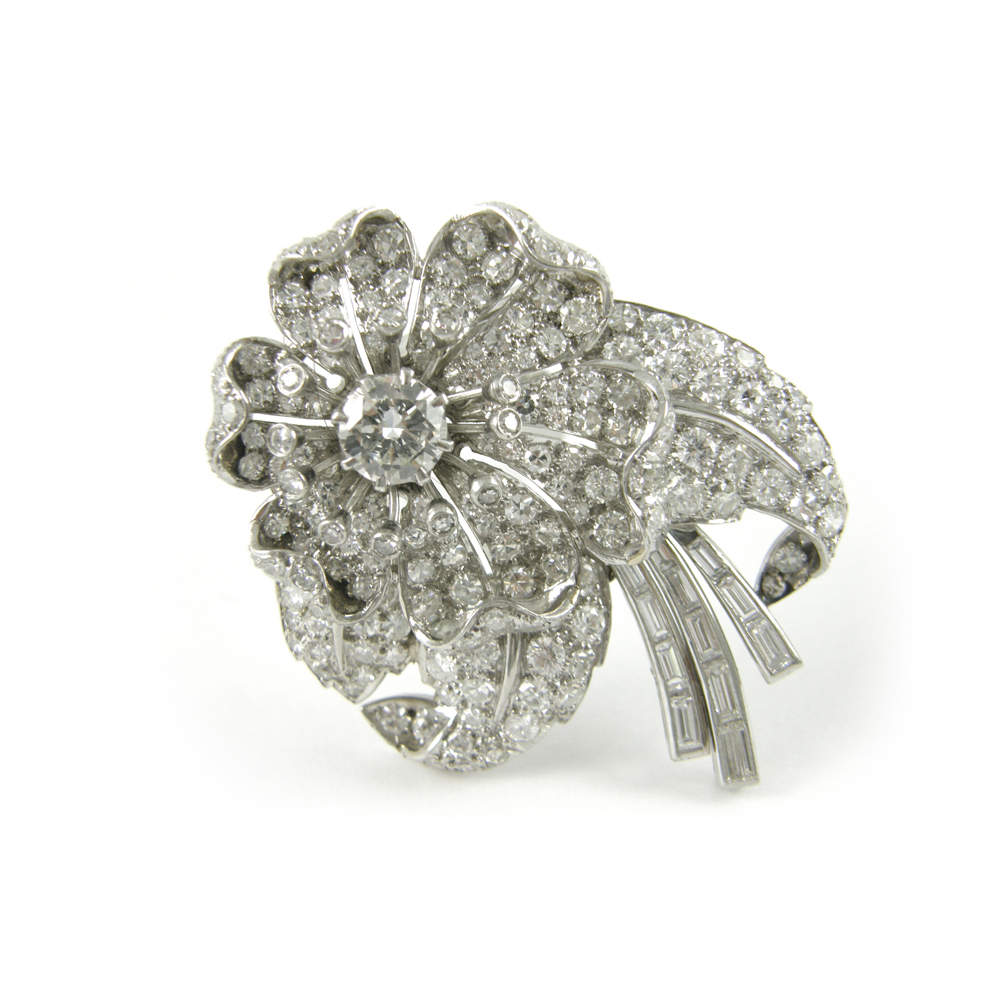 Estate Platinum Diamond Flower Pin