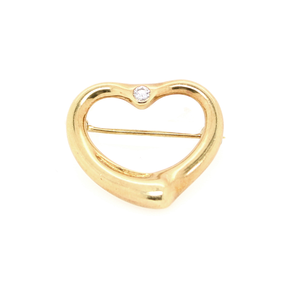 Estate 18 Karat Yellow Tiffany & Co Gold Open Heart Diamond Pin