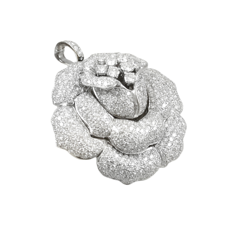 Romantic Ladys 14 Karat White Gold Diamond Pin.