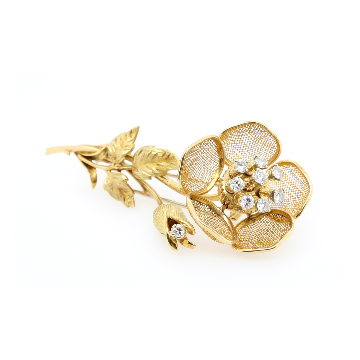 Vintage 18 Karat Yellow Gold French Floral Diamond Pin