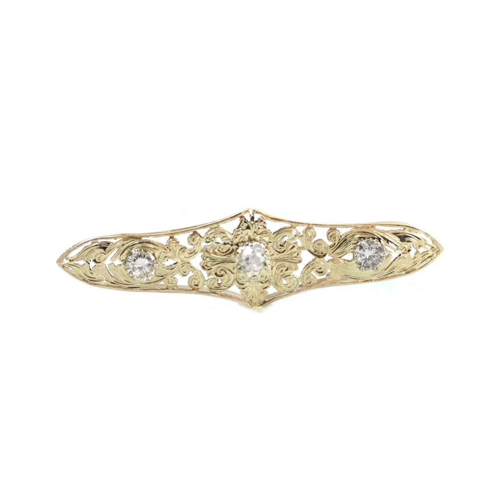 Estate 14 Karat Yellow Gold Navette Diamond Pin