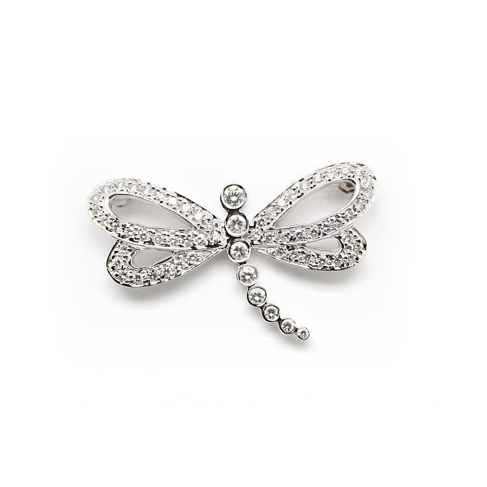 Vintage 18 Karat White Gold Diamond Dragonfly Pin