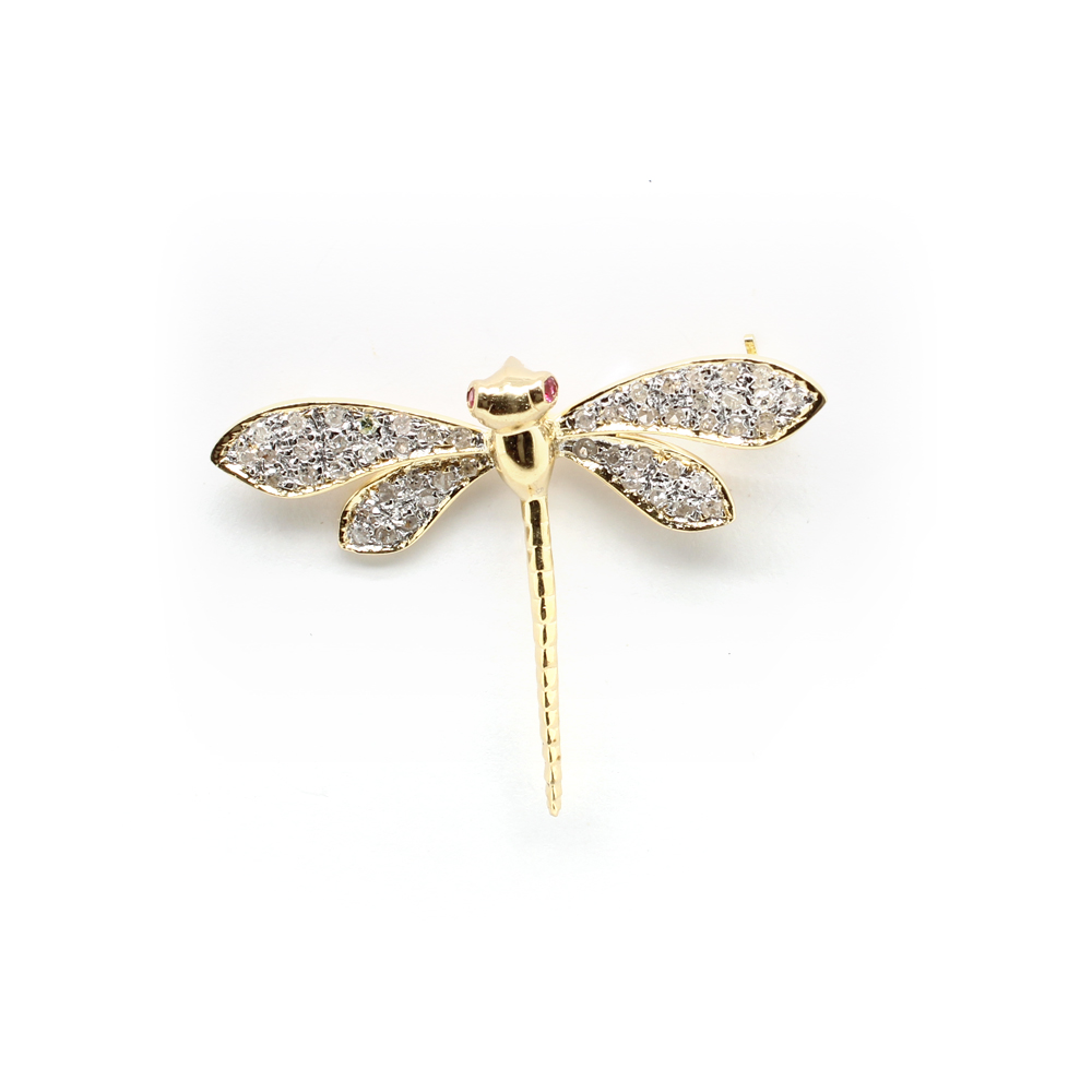 Estate 14 Karat Yellow Gold Diamond Dragonfly Pin