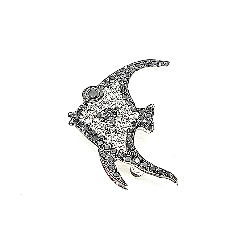 Vintage 14 Karat White Gold Black and White Diamond Fish Pin