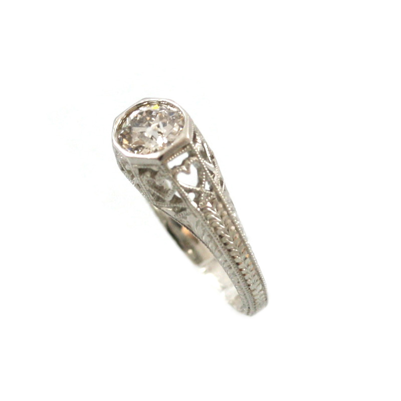 Platinum Antique Reproduction Diamond Ring.