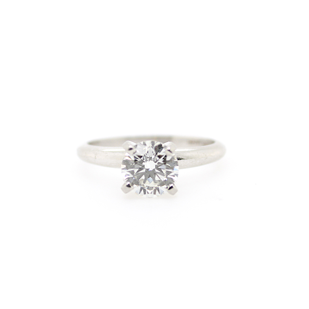 Estate Platinum GIA Certified Diamond Solitaire Ring