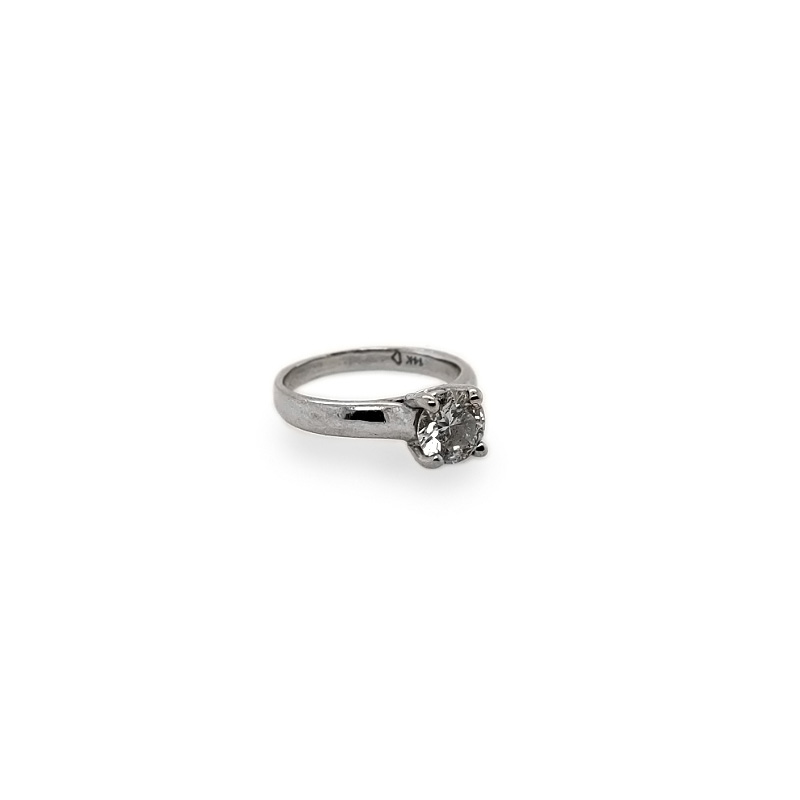 Estate 14 Karat white gold diamond solitaire ring