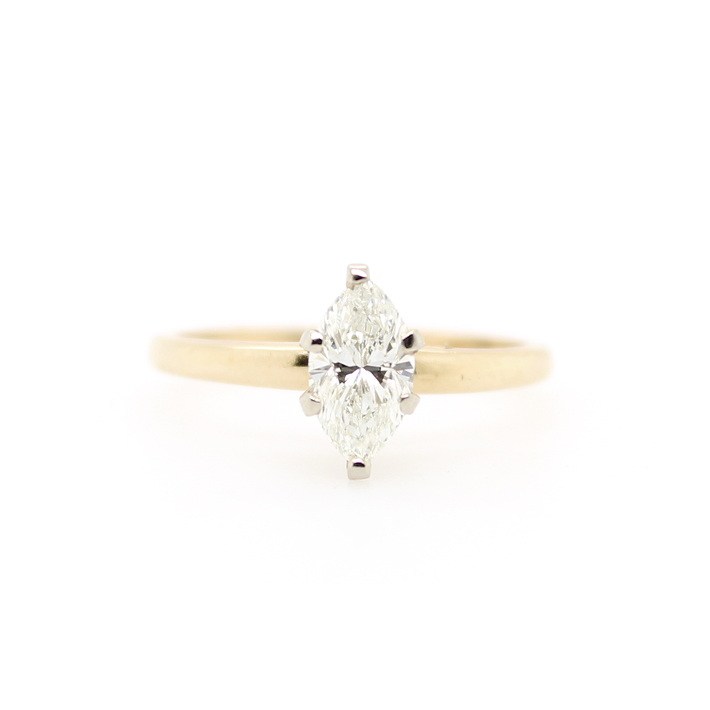 Vintage 14 Karat Yellow Gold Marquise Diamond Solitaire Ring