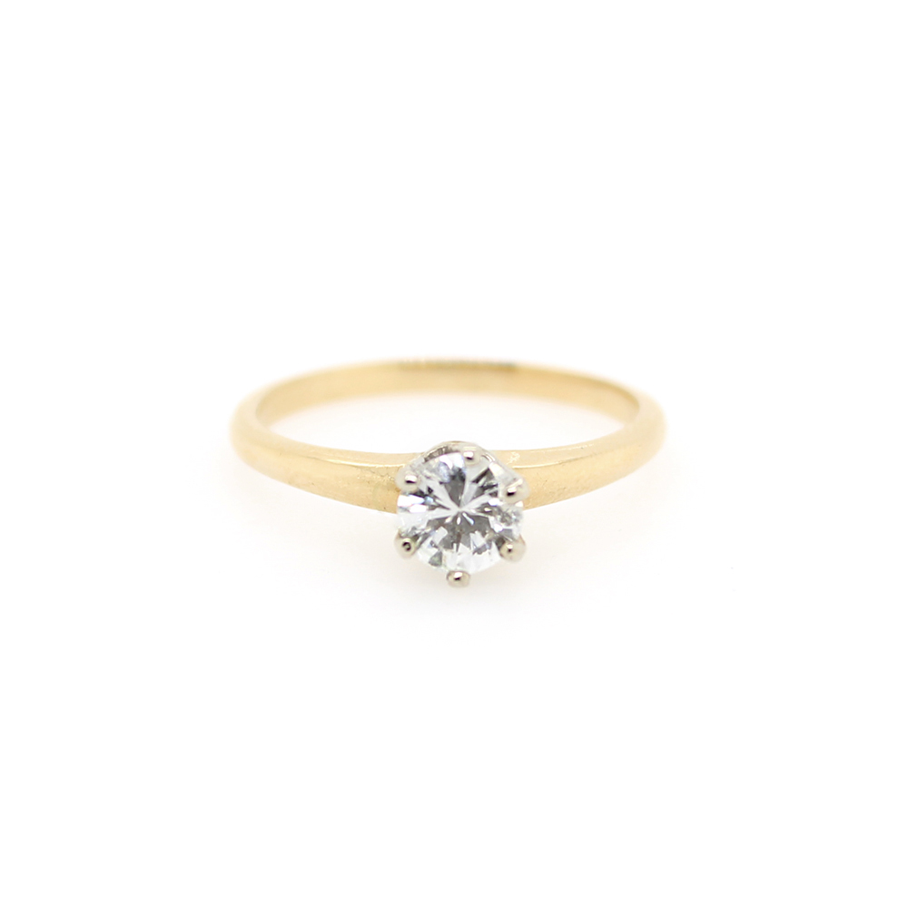 Vintage 14 Karat Yellow Gold Diamond Solitaire Ring