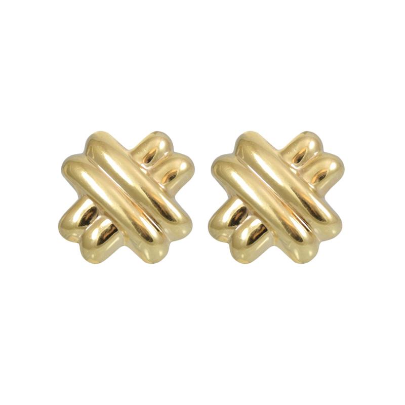 Geometric 14 Karat Yellow Gold Ribbed X Earrings.