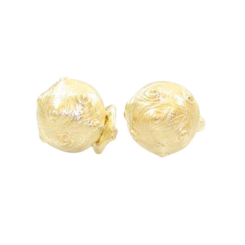Estate 18 Karat yellow gold Nicholas Varney button earrings.