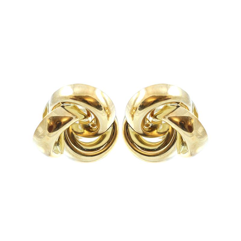 Estate 18 Karat yellow gold clover twist earrings.