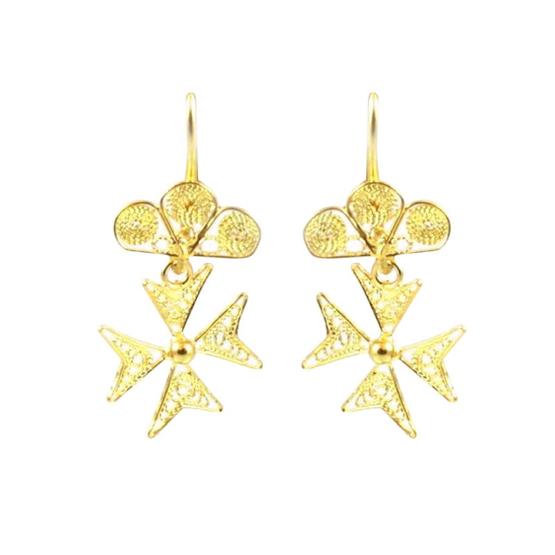Estate 22 karat yellow gold handmade cross drop earrings.