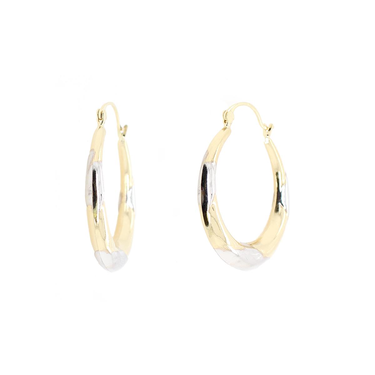Vintage 14 Karat Yellow and White Gold Hoop Earrings