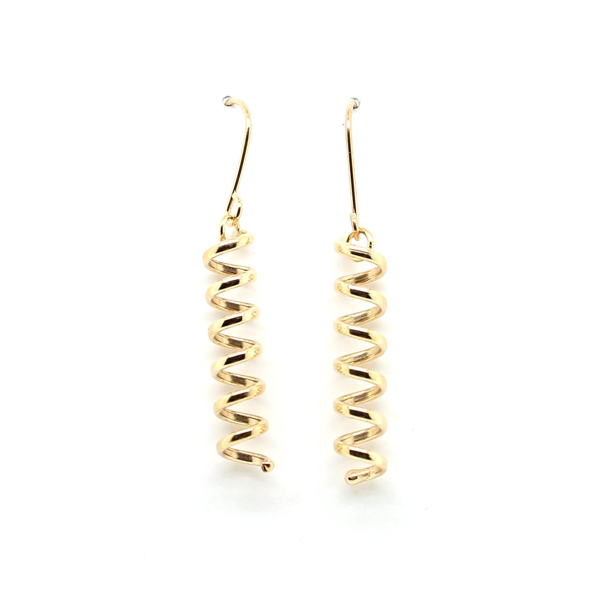 Vintage 14 Karat Yellow Gold Elongated Coil Earrings