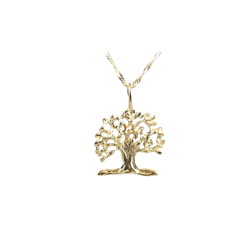 Vintage 14 Karat Yellow Gold Oak Tree Pendant Necklace