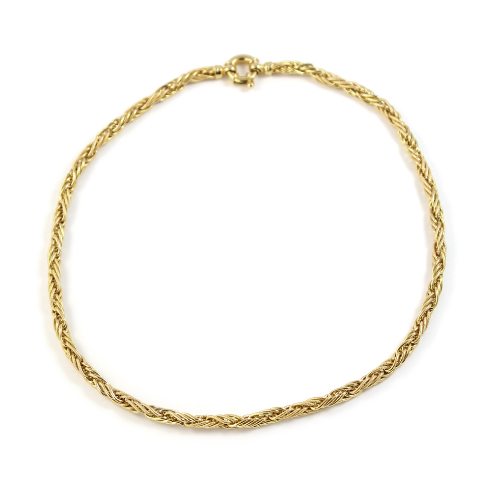 Vintage 14 Karat Yellow Gold Hollow Braided Link Chain Necklace