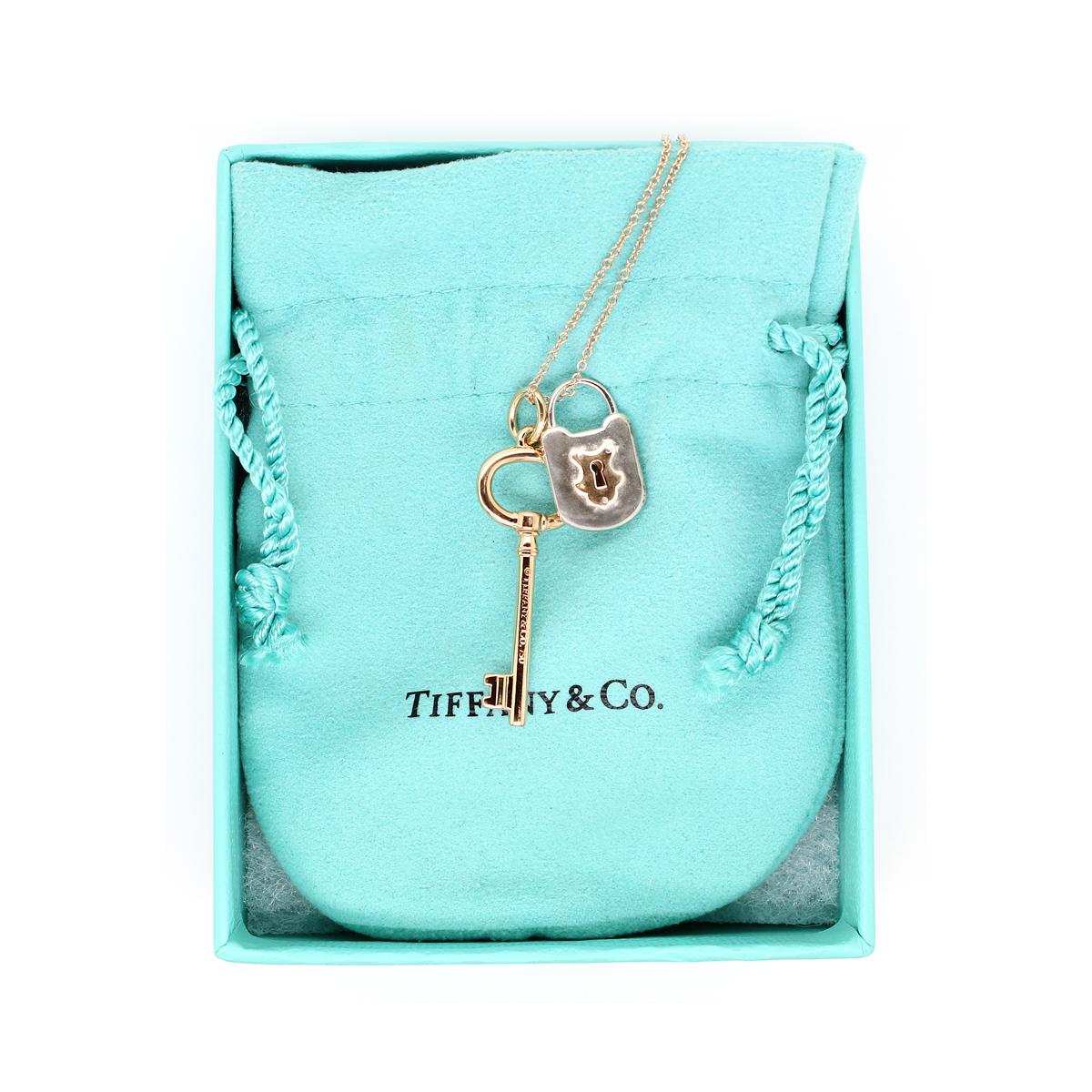 Vintage 18 Karat Rose Gold Tiffany and Co. Lock and Key Pendant Necklace