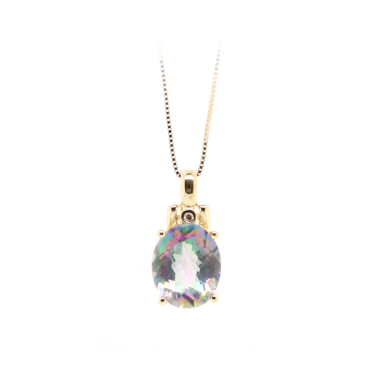 Vintage 14 Karat Gold Enhanced Mystic Topaz Pendant Necklace
