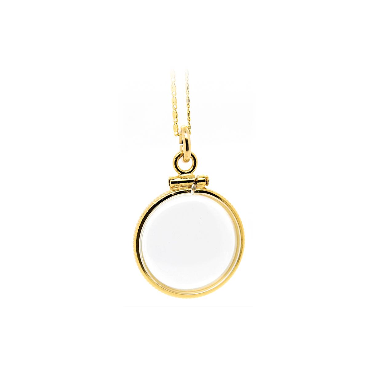 Vintage 14 Karat Yellow Gold Encased Acrylic Pendant Necklace