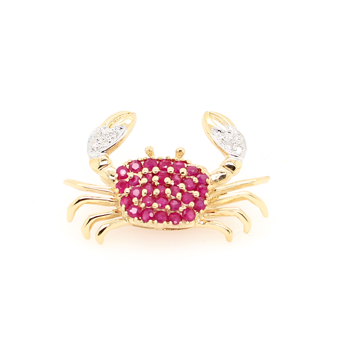 Vintage 14 Karat Yellow Gold Diamond & Ruby Crab Pin