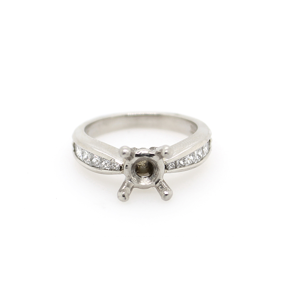 Vintage Platinum Diamond Semi Mount Ring