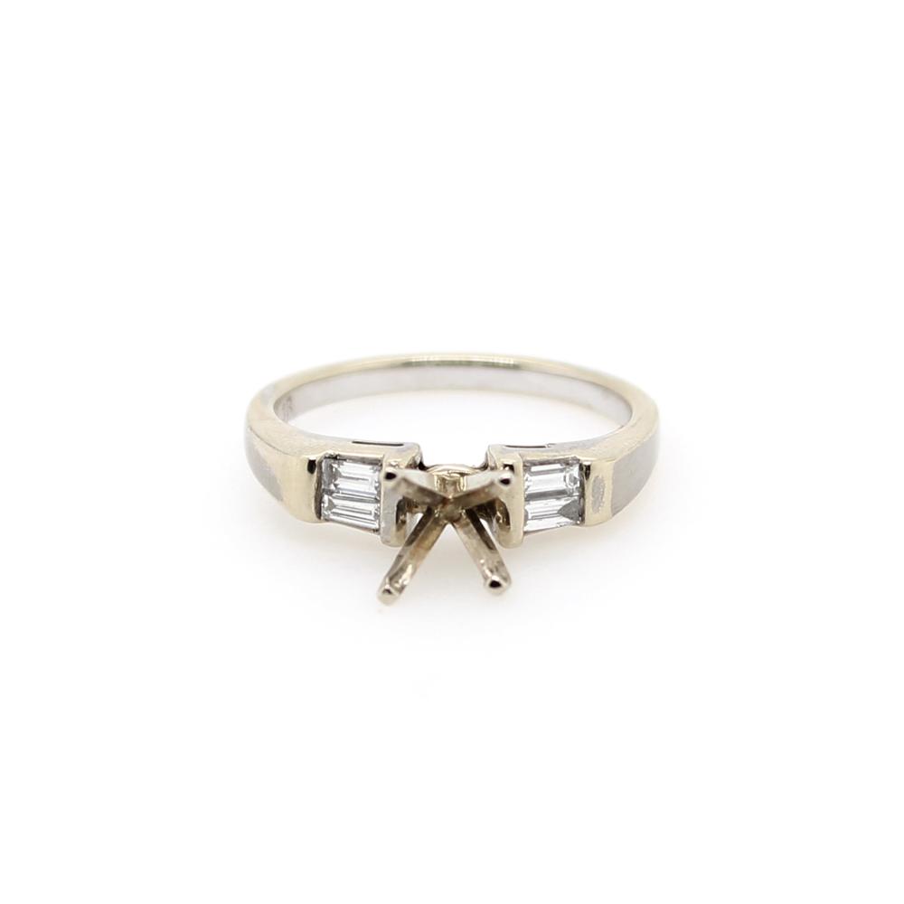 Vintage 14 Karat White Gold Baguette Diamond Semi Mount Ring