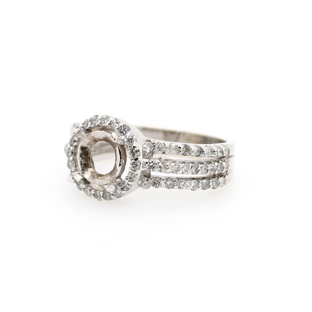 Vintage 14 Karat White Gold Diamond Sem Mount Ring