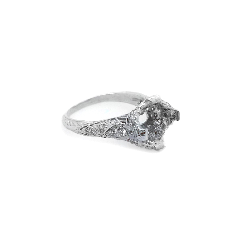 Vintage Platinum Antique Reproduction Diamond Semi Mount Ring
