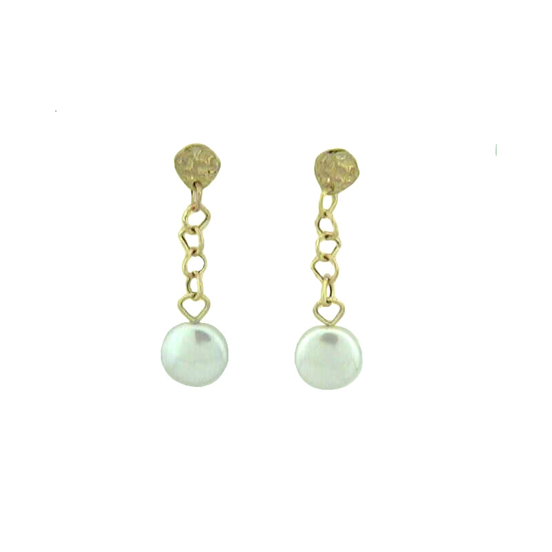 Vintage Yvel Lady's 18 Karat Yellow Gold White Coin Pearl Dangle Earring