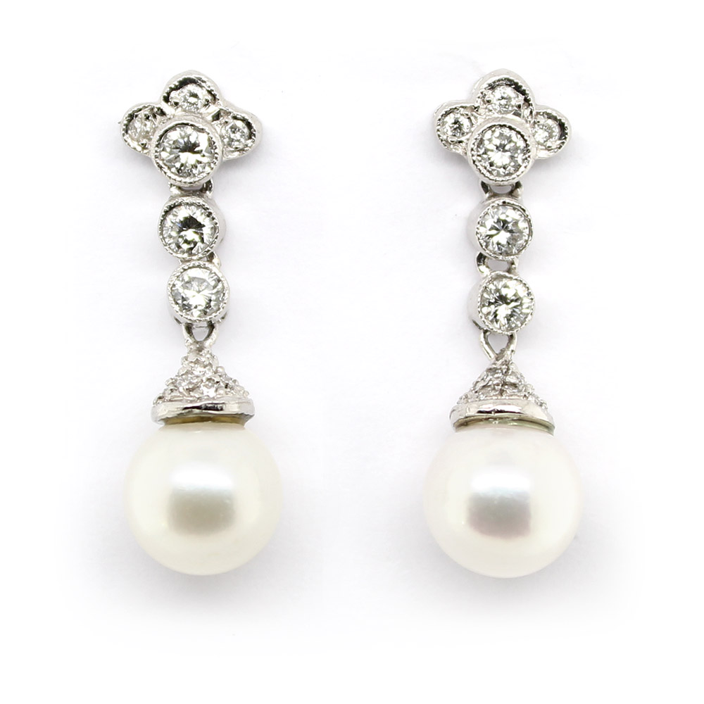 Estate Platinum Antique Reproduction Diamond and Pearl Earrings