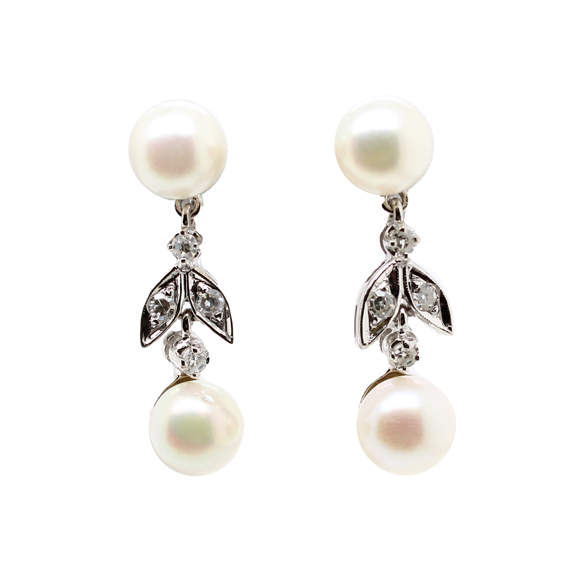 Vintage 14 Karat White Gold Freshwater Pearl and Diamond Drop Earrings