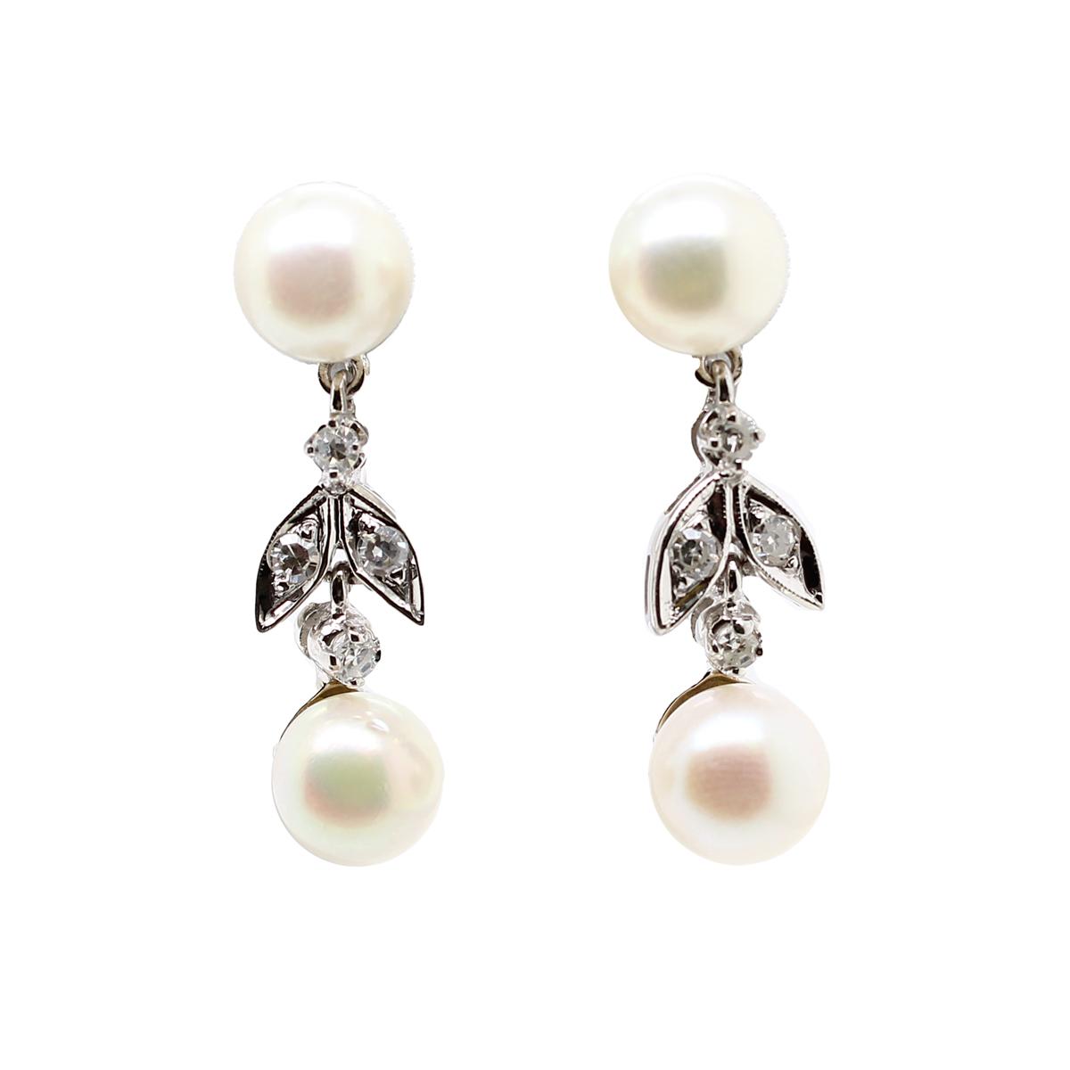 Vintage 14 Karat White Gold Freshwater Pearl and Diamond Drop Earrings