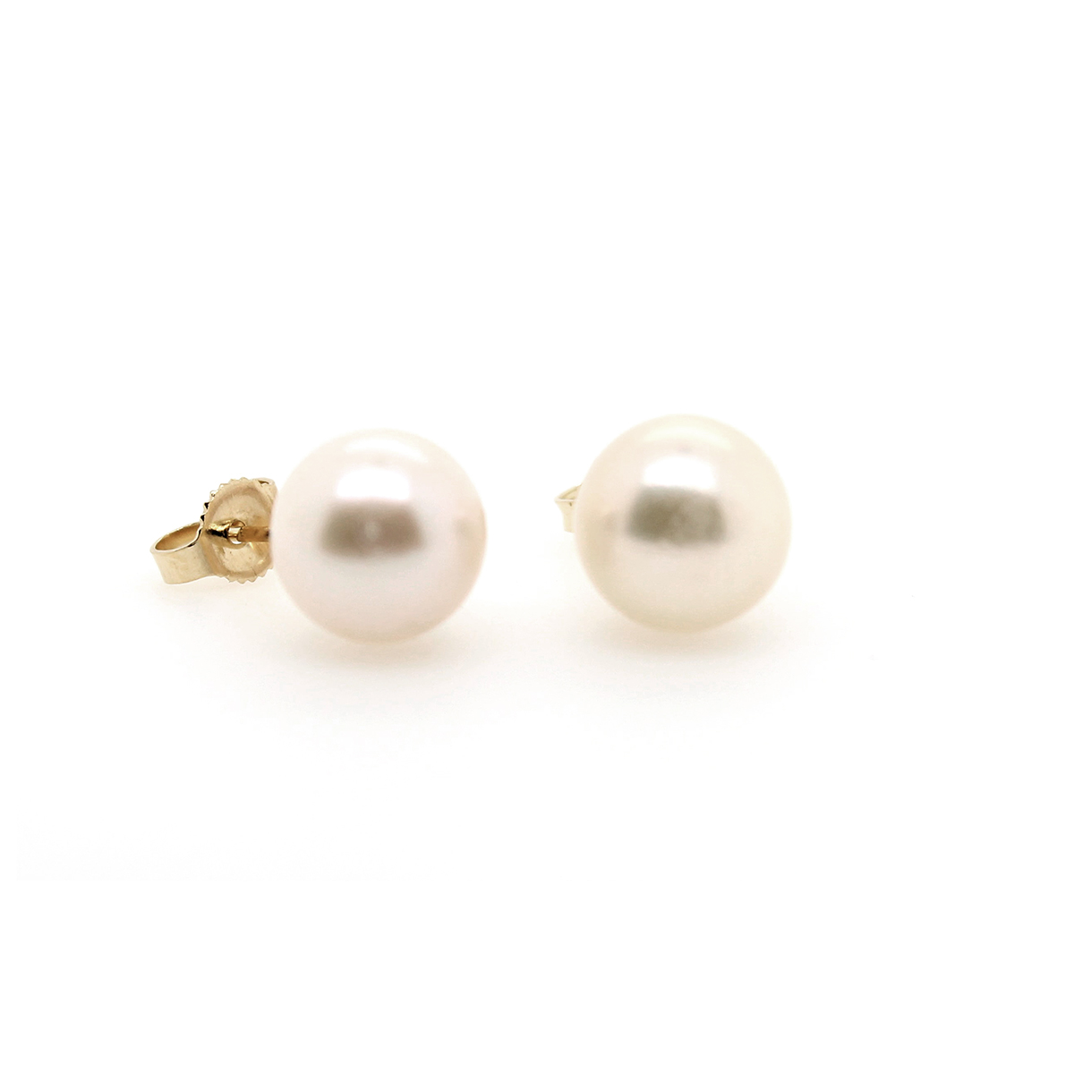 Vintage 14 Karat Gold White Akoya Pearl Earrings