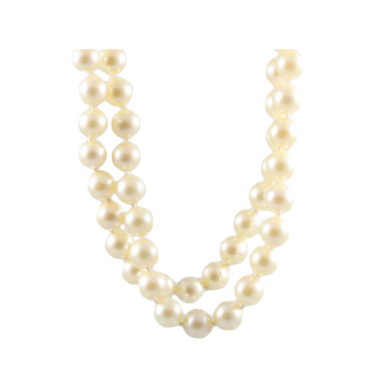 "Vintage continuous pearl strand necklace measuring 27"" long having 87 round white 8 by 8.5 cultured akoya pearls."