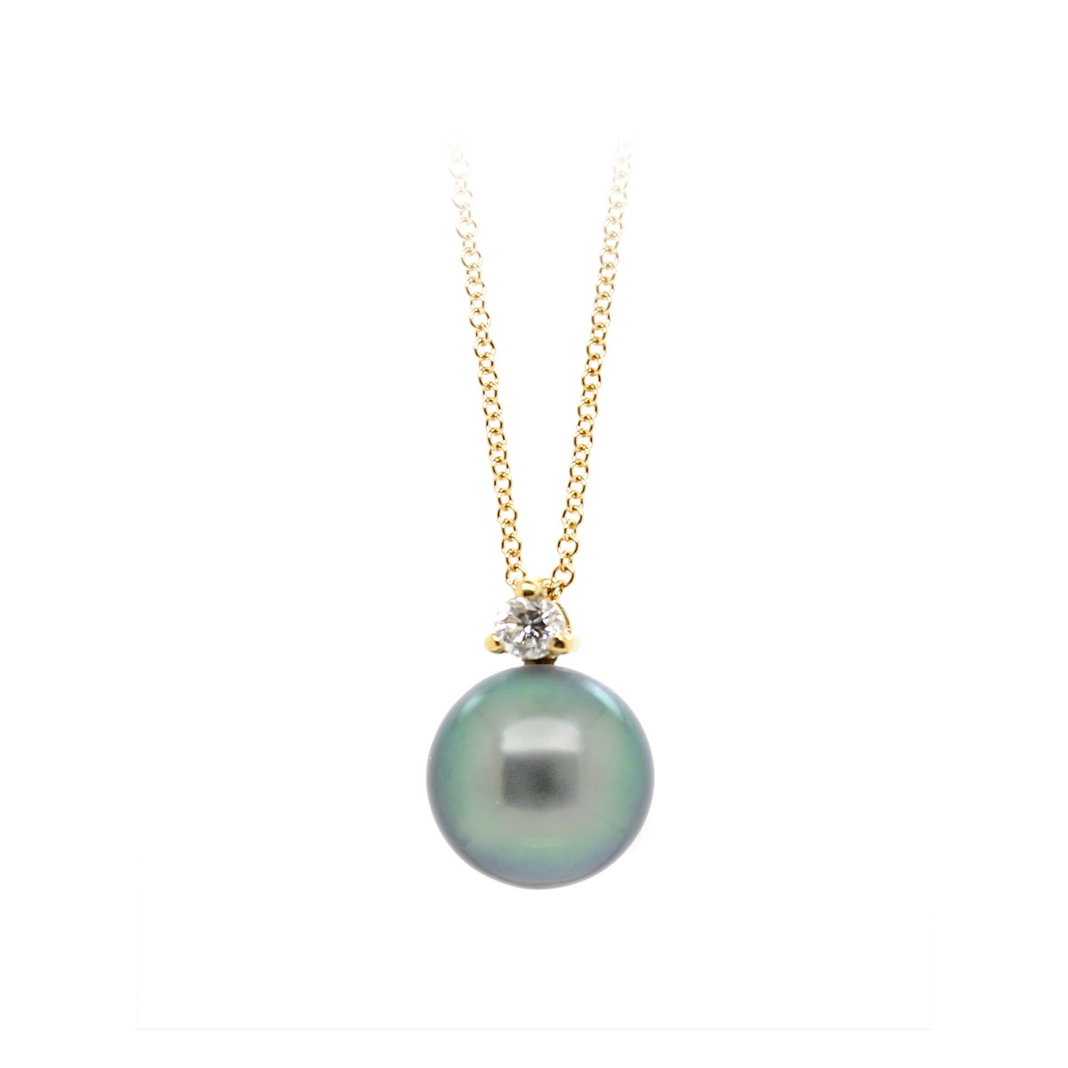 Vintage Tahitian Pearl and Diamond Pendant Necklace
