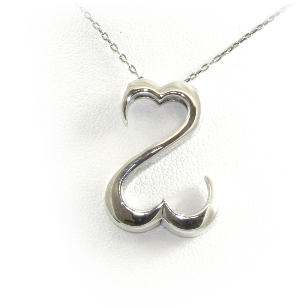 "Vintage Sterling Silver ""Open Heart"" Pendant Necklace"